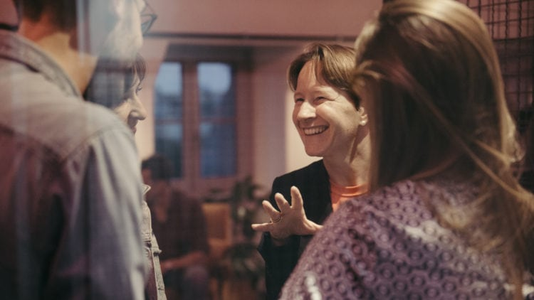Women in conversation in the Factory Berlin Community.