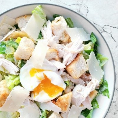 Everyday Americana Feast: Poached Egg & Chicken Caesar Salad
