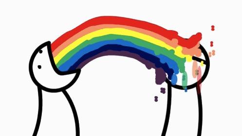 A cartoon figure vomiting rainbow juice into someone else's face (nice).