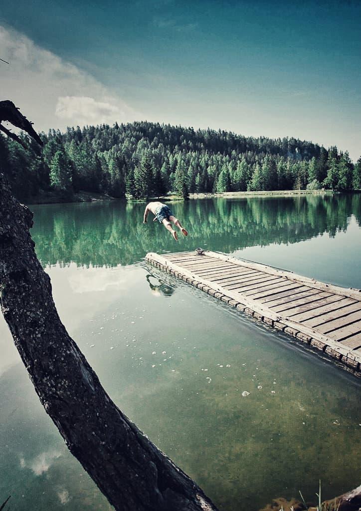 Swimming in lake Tret, Trentino, Italy