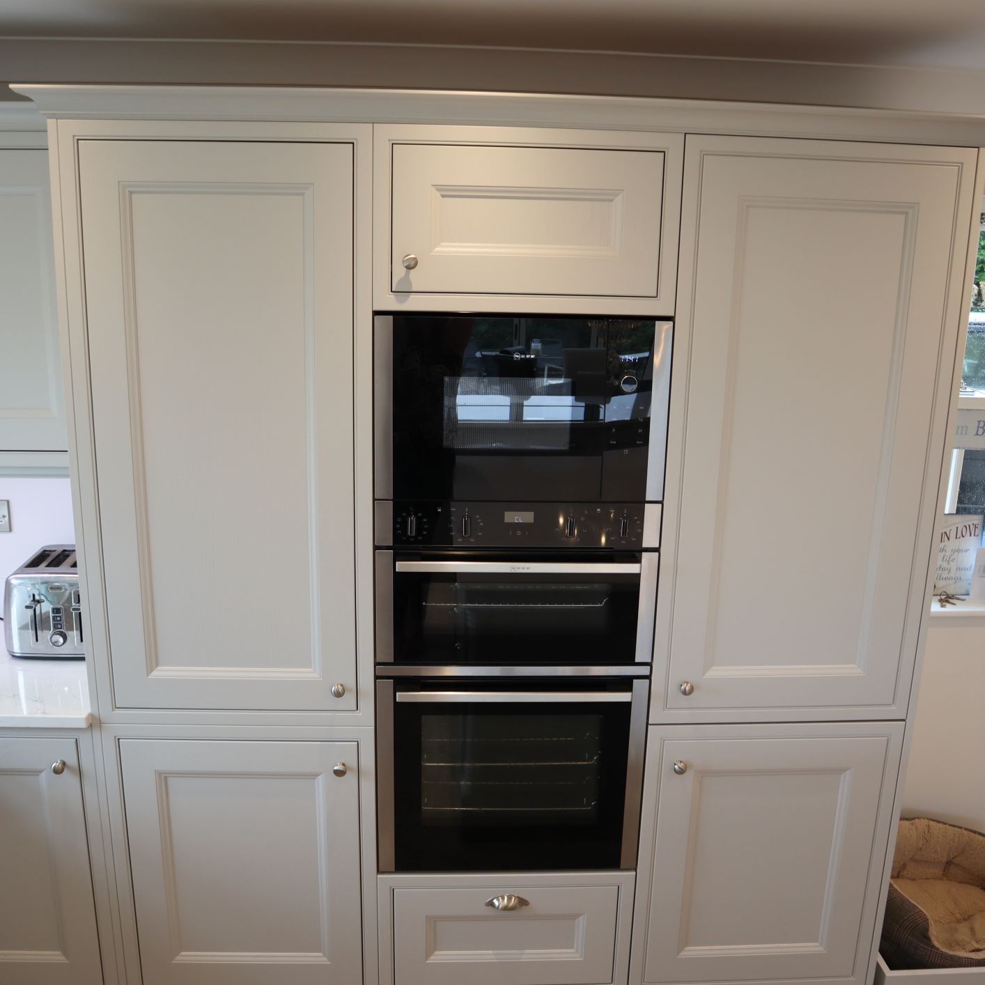 Thwaite in Light Grey Tall Larders & Built In Oven & Microwave