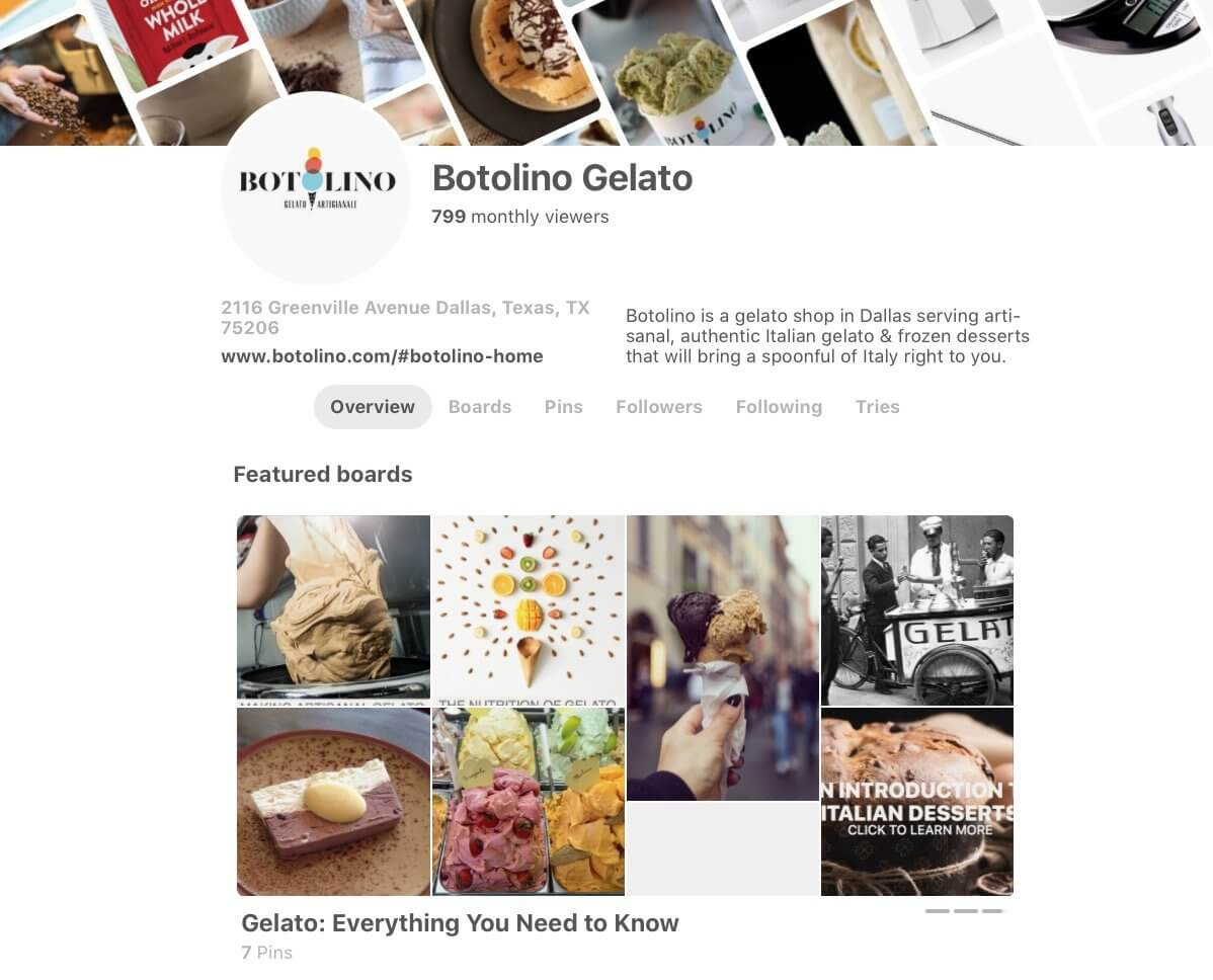 Pinterest page example