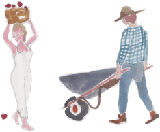 Watercolor illustration of woman carrying a basket of fruit and a man with wheelbarrow