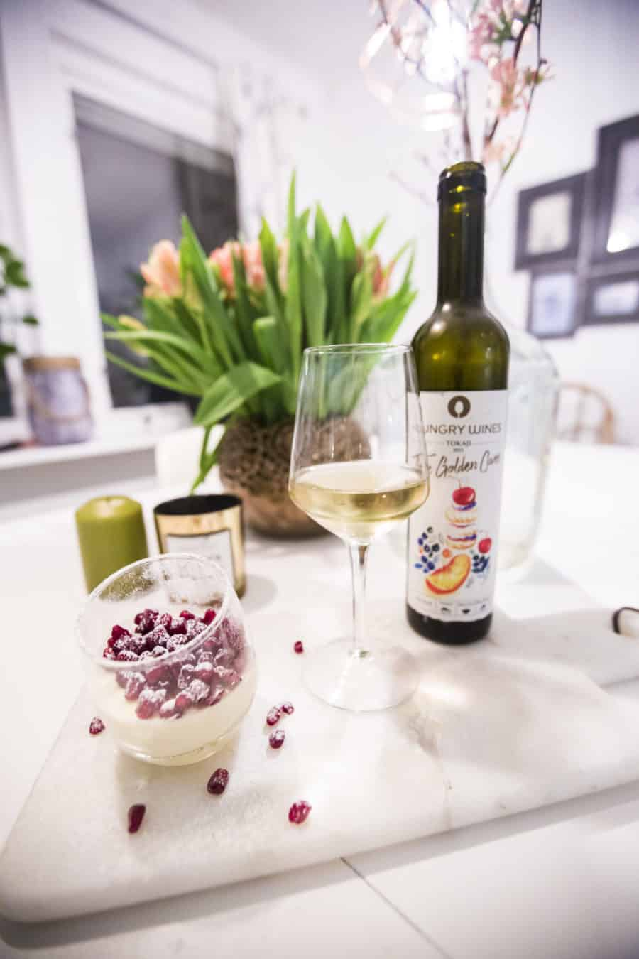 Hungry Wines The Golden Cuvée - Sweet wine from Tokaji on the base of Furmint and other local grapes, and pannacotta topped with berries