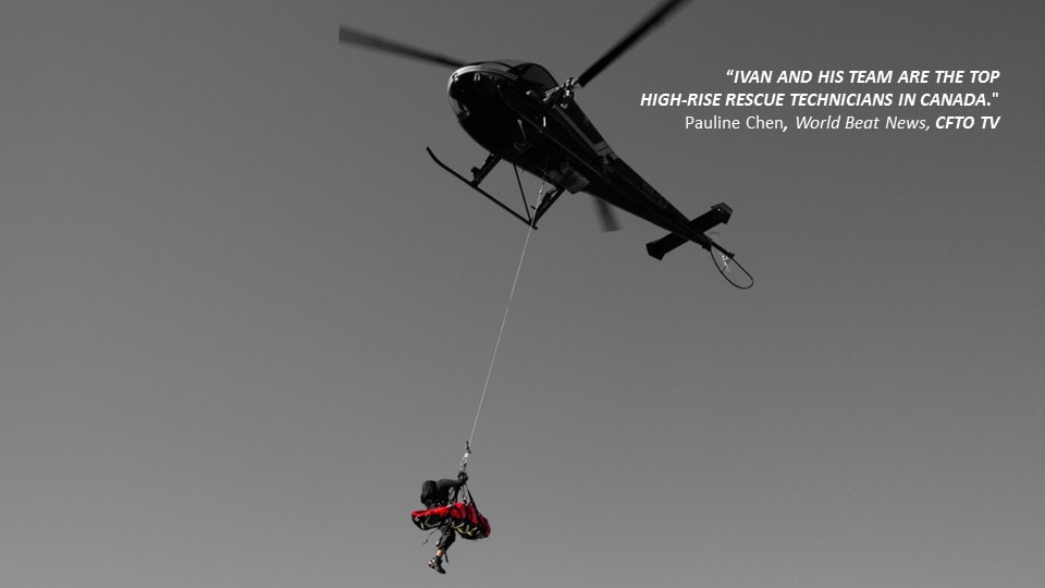 rappelling out of a helicopter