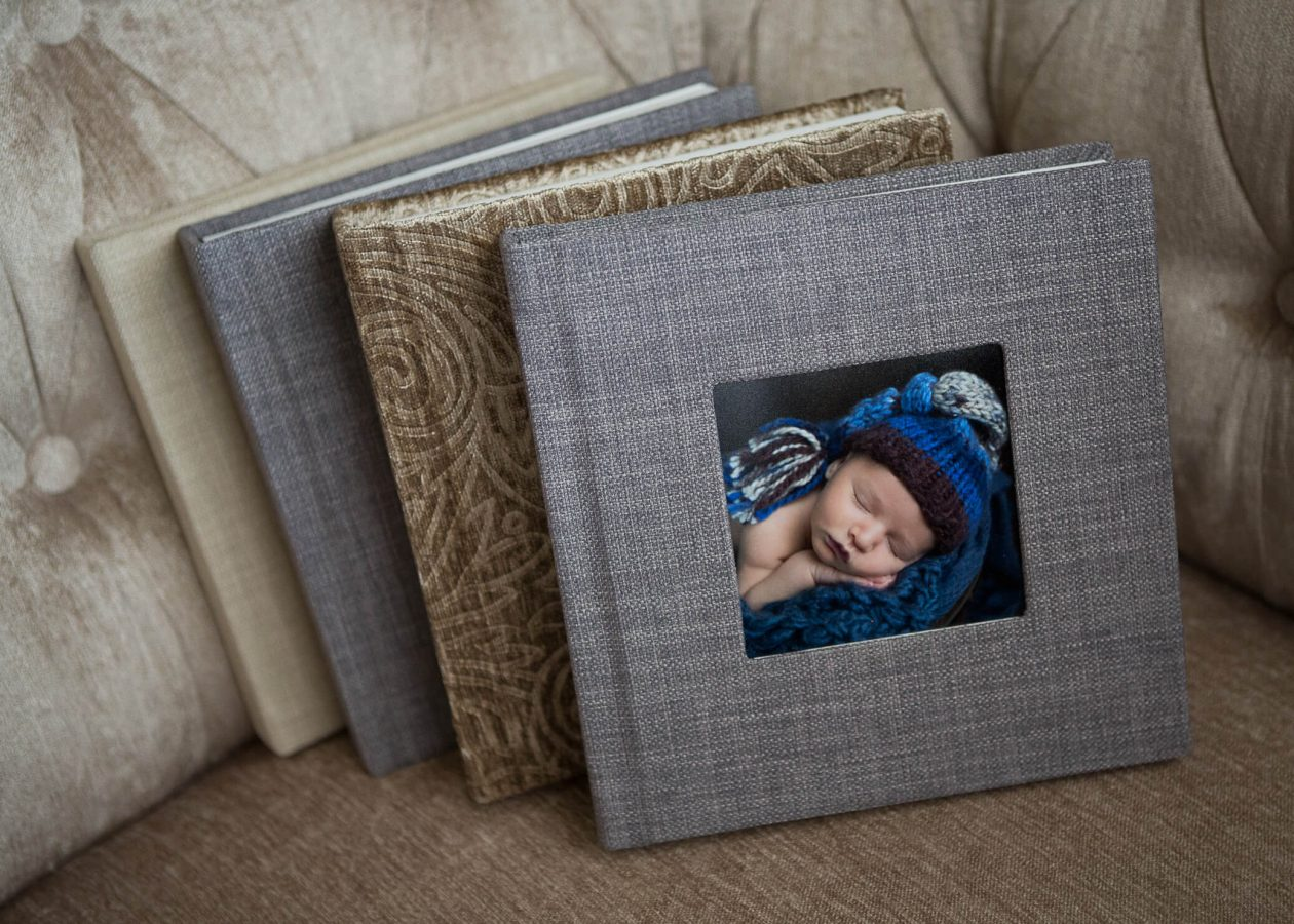 photo album from portrait session San Antonio Newborn Photogrpapher