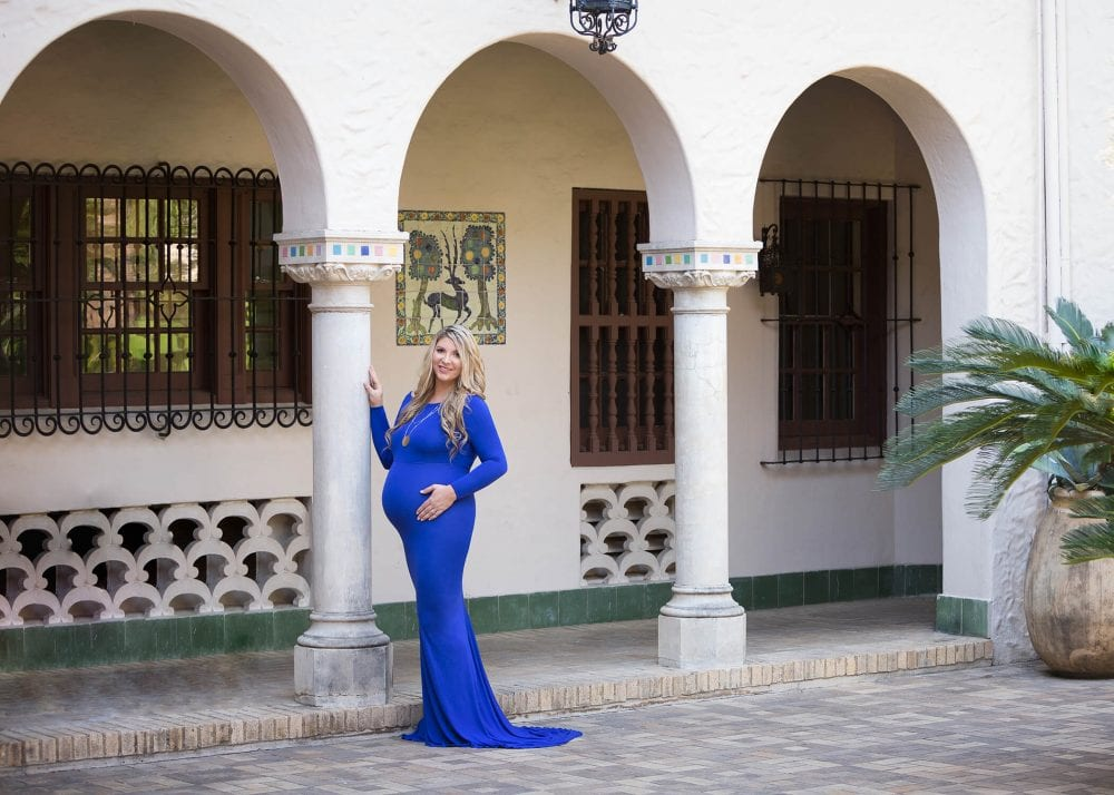 maternity session at the mcnay near columns mom in Sew Trendy dress