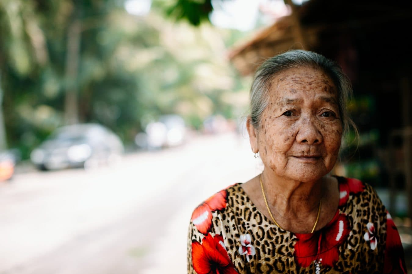 portrait of woman in rural laos photo