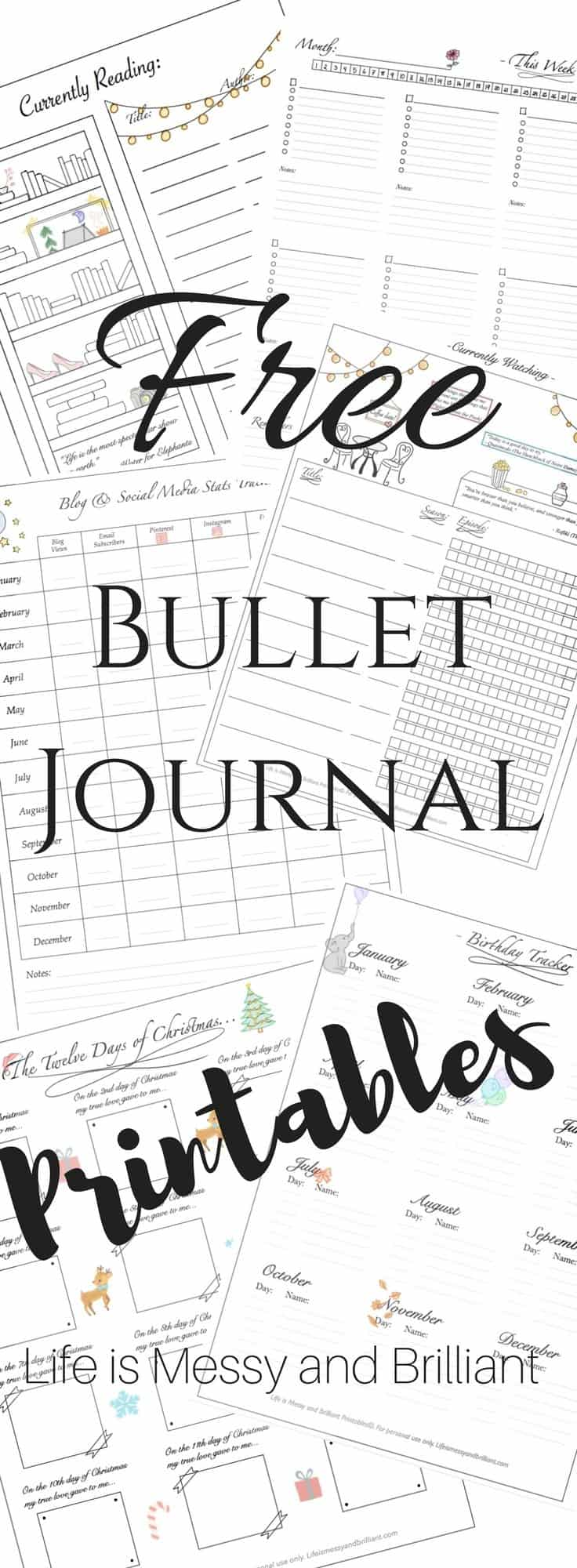 Bullet Journal Printables Free Templates