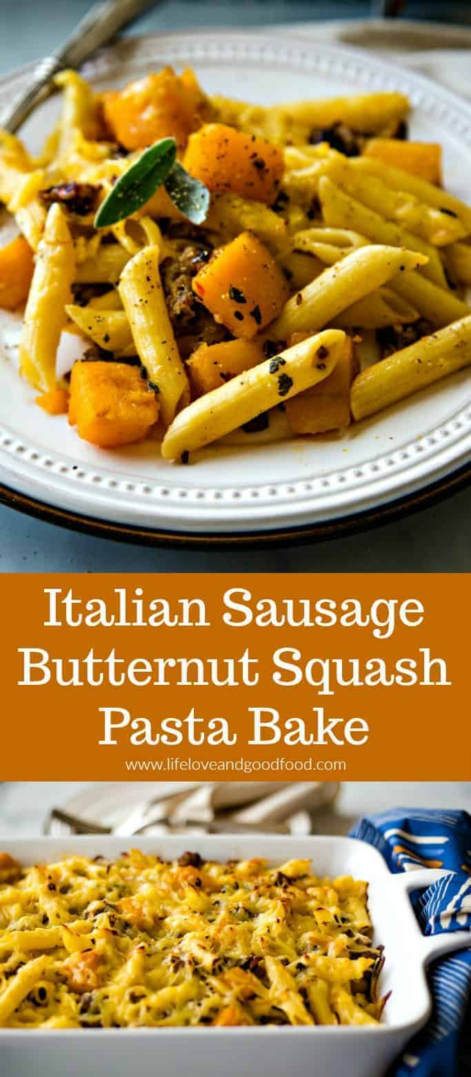 Italian sausage and butternut squash are combined with penne pasta and topped with smoked Gouda cheese in this delicious, comforting dinner recipe. #pastadinner #Italiansausage #butternutsquash #comfortfood #casserole