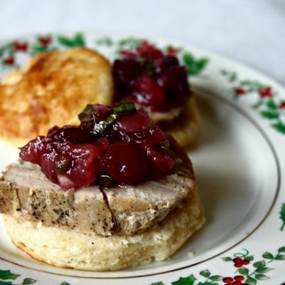 Pork Loin on Cornmeal Biscuits