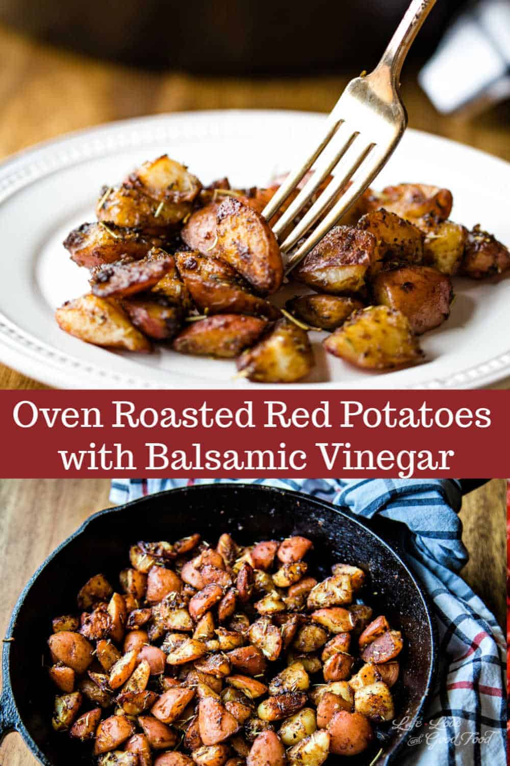 Seasoned with pantry spices like rosemary, thyme, and garlic, these Oven Roasted Red Potatoes are finished at the end with a drizzle of quality aged balsamic vinegar. With this easy recipe, parboil the potatoes first, then roast them for extra crispiness.