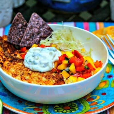 Fish Taco Bowl with Mango Salsa and Cilantro Lime Crema