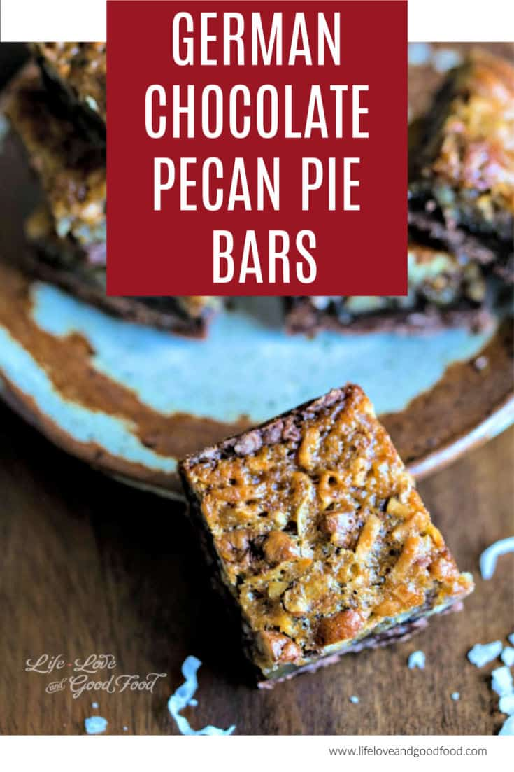 German Chocolate Pecan Pie Bars recipe from Southern Living. These gooey dessert bars are the ultimate in chocolate decadence with a chocolate shortbread crust, chocolate pecan pie filling, and toasted pecans. #germanchocolate #pecanpie #dessert #cookiebars