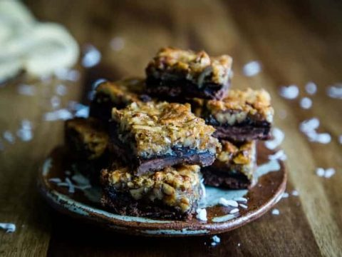 a plate loaded with cookie dessert bars