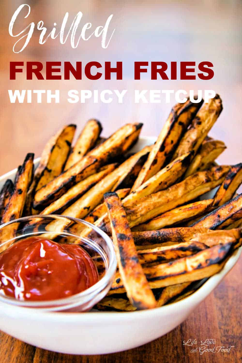 Satisfy that junk food craving with this flavorful, no-guilt recipe for Grilled French Fries with Spicy Ketchup. Say what?! French fries on the grill? Absolutely! These delicious hand-cut French fries get nice and crispy on the outside and stay fluffy on the inside without using a deep fryer. Completely made from scratch using Idaho russet potatoes and flavored with garlic and a little seasoned salt, grilled French fries are a healthier choice. Served warm with a zesty ketchup sauce.