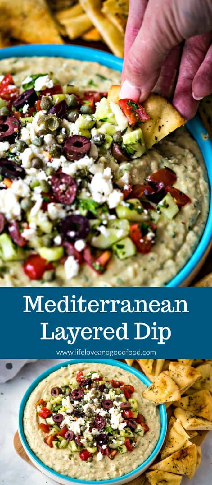 Full of Greek flavor and a light fresh Greek salsa, Mediterranean Layered Dip is built using a flavorful white bean dip and is served with seasoned baked pita chips. #appetizer #layereddip #Greekdip