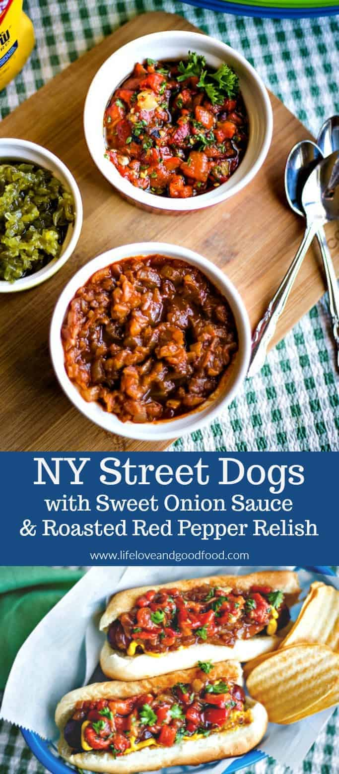 Who says hotdogs can't be gourmet? NY Street Dogs with Sweet Onion Sauce and Roasted Red Pepper Relish #hotdogs #picnic #grilling #relish