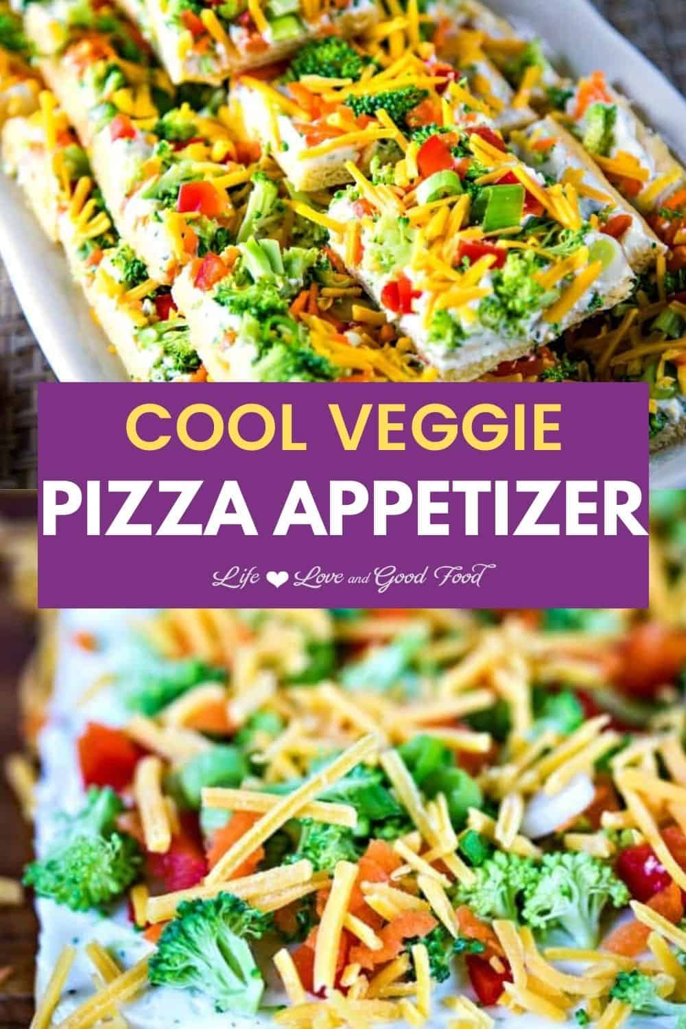 Cool Veggie Pizza Appetizer starts with a refrigerated crescent dough! Top that with a mix of fresh seasonal vegetables—like broccoli, bell peppers, carrots, green onions, and tomatoes—plus shredded cheddar cheese and you have yourself a very colorful and flavorful party appetizer!  #EASY #appetizer #RanchDressing #veggies #partyfood #coldappetizer