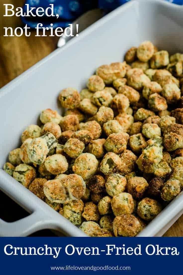 Crunchy Oven-Fried Okra. Make healthier crispy, breaded okra in the oven using a mix of panko crumbs, corn meal, and parmesan cheese with less oil than frying! #okra #vegetables