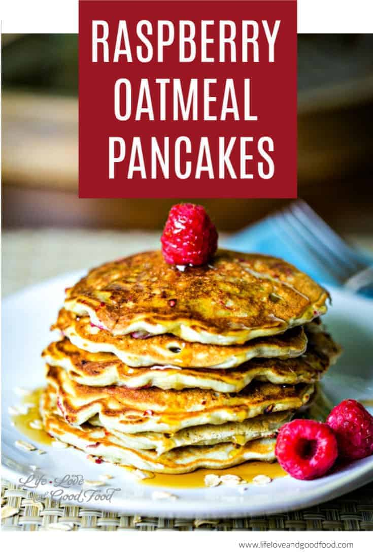 Raspberry Oatmeal Pancakes, made with Greek yogurt, oats, and fresh raspberries, are light and fluffy pancakes that are still very filling. This easy pancake recipe is a healthy brunch option. #pancakes #raspberries #greekyogurt #breakfast #brunch