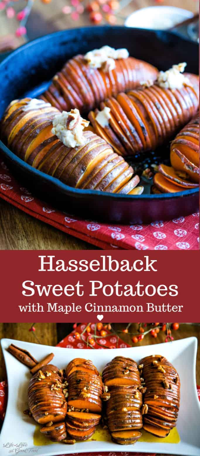 Hasselback Sweet Potatoes with Maple Cinnamon Butter are a deliciously elegant way to serve sweet potatoes this holiday season. This easy recipe is a bit healthier than the traditional holiday casserole, too! #thanksgiving #vegetarian #sweetpotatoes