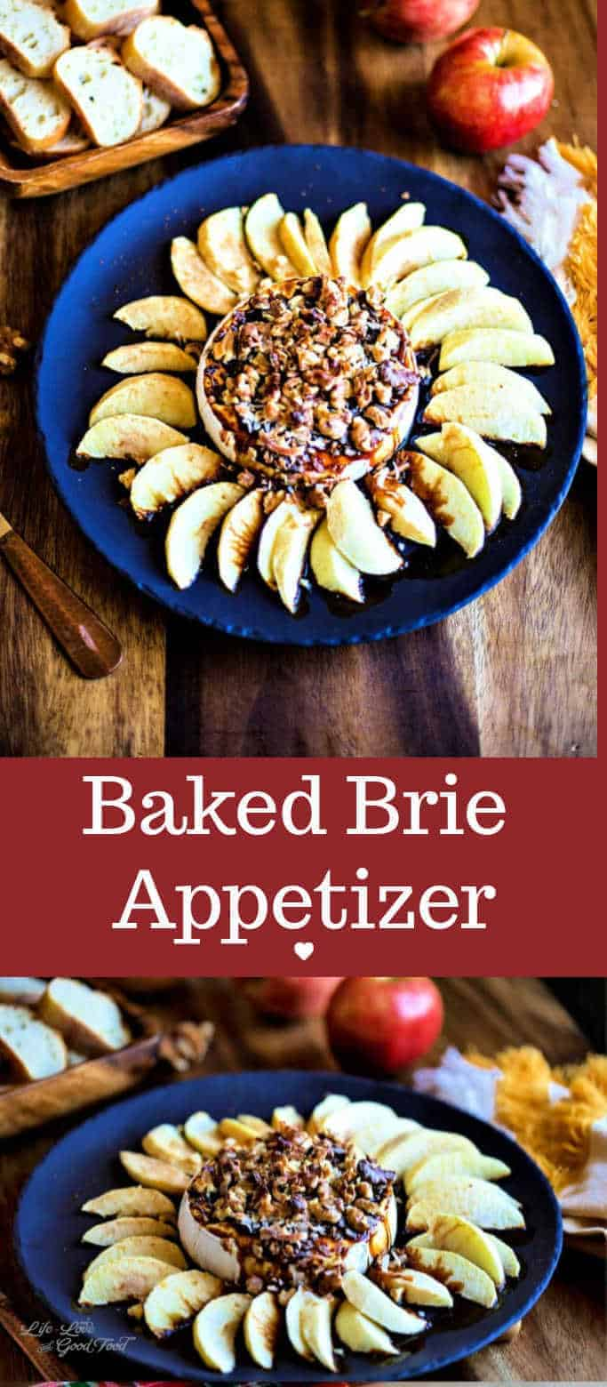 Ready in just 15 minutes, this Baked Brie Appetizer with apples, molasses, and walnuts is a tasty, simply elegant party appetizer recipe for easy entertaining.#brie #appetizer