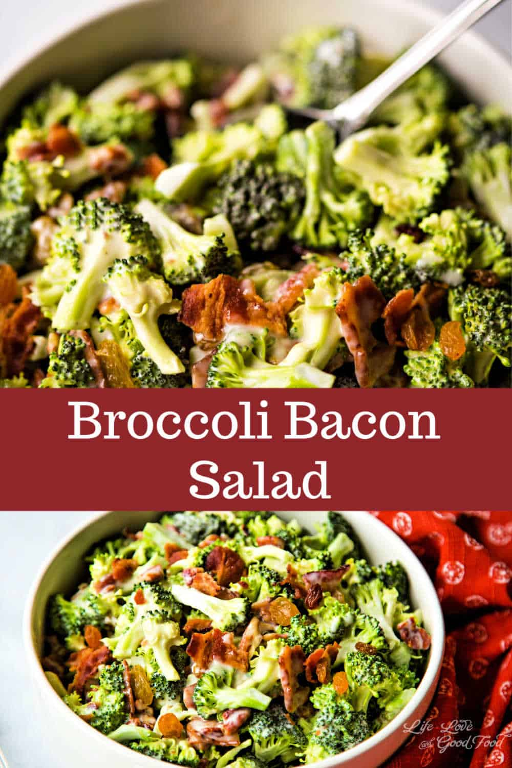 Chock full of crispy bacon, sweet golden raisins, and toasted pecans, this classic Broccoli Bacon Salad recipe is always a favorite at potluck dinners and family picnics. Served cold, this salad gets even more delicious the next day. The creamy dressing is made with just three ingredients — mayonnaise, sugar, and apple cider vinegar — and is the perfect contrast to the crunchy broccoli and chewy raisins. This recipe is the best ever!