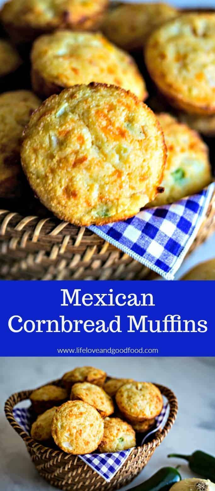 Moist and cheesy, these sweet jalapeño cornbread muffins are perfect your next fish fry, chili supper, or soup night. #Mexicancornbread #cornbreadmuffins