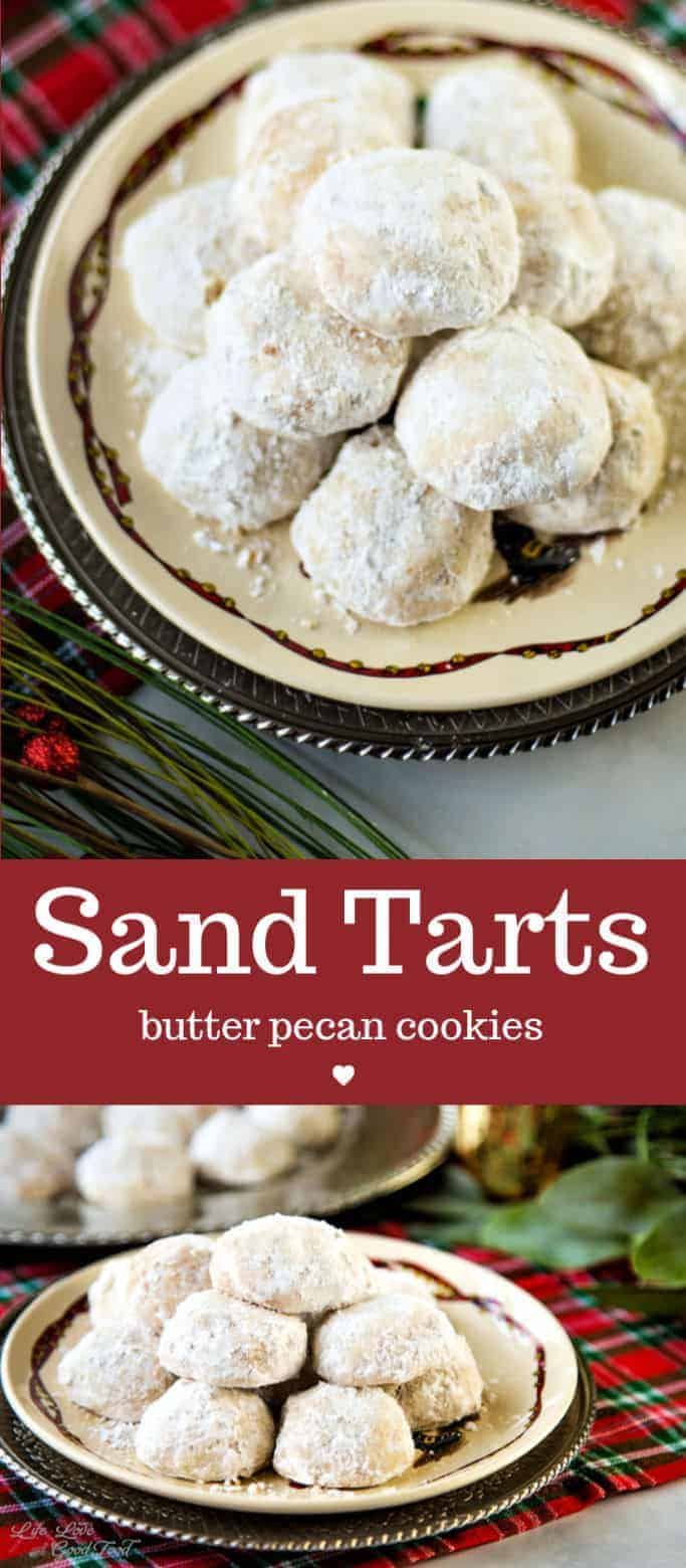 Sand Tarts—similar to Danish wedding cookies or Mexican wedding cookies—are old-fashioned tasty butter cookies coated with powdered sugar. Perfect for cookie swaps! #cookies #rolledcookies #powderedsugar #ChristmasCookies