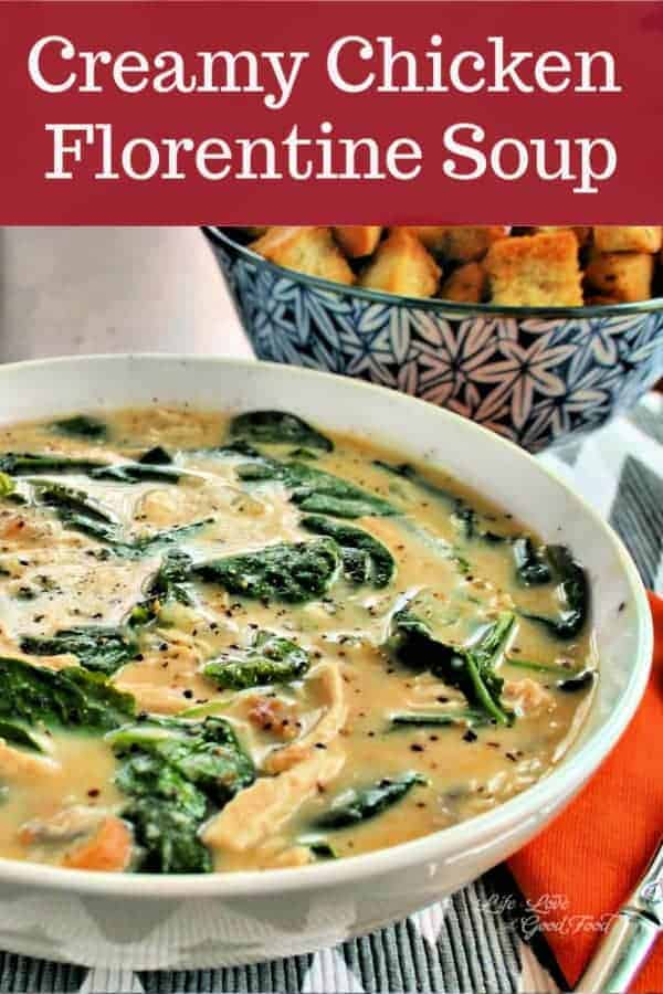 Make this rich, creamy Chicken Florentine Soup in the crockpot with chicken, fresh spinach, and mushrooms. Top with Parmesan croutons for extra flavor, extra crunch, and extra goodness!