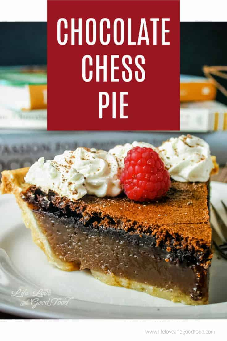 Chocolate Chess Pie is a simple homemade dessert whipped up with just a few basic ingredients and served with a dollop of fresh whipped cream. This easy old-fashioned recipe is a Southern classic made with unsweetened cocoa and evaporated milk! #chocolatepie #pie #baking