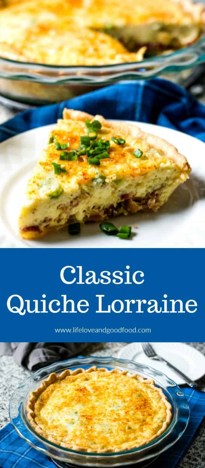 Classic Quiche Lorraine—a savory egg custard baked with crisp-fried bacon, scallions, and Swiss cheese—is a tasty brunch recipe any home chef can master! #quiche #brunchrecipe