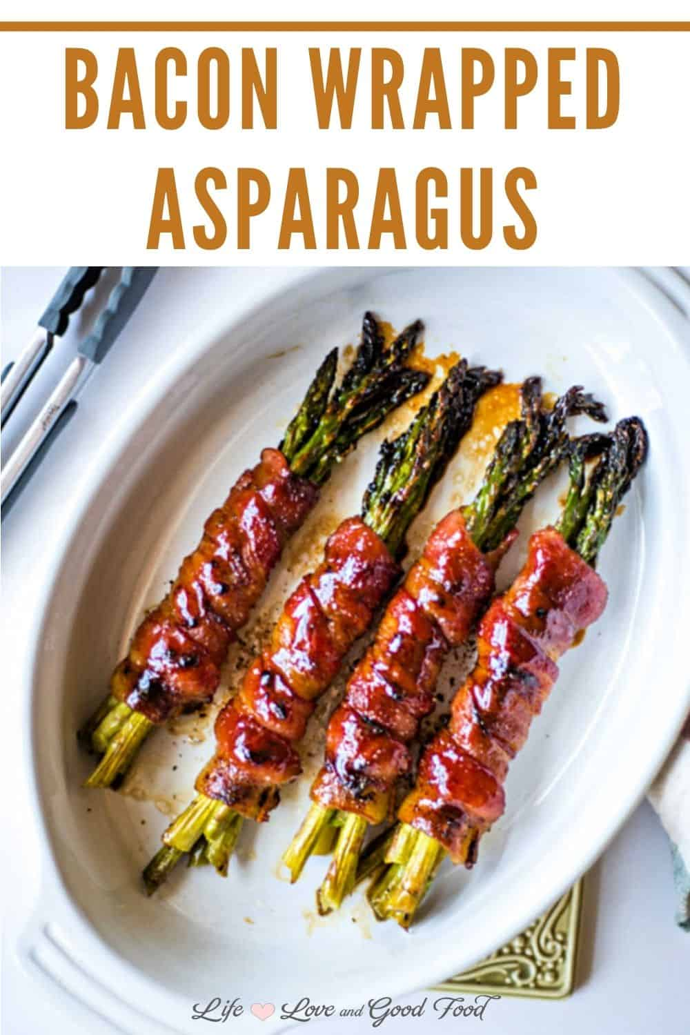 Bacon-Wrapped Asparagus Bundles are roasted with a brown sugar soy sauce until the bacon is crisp and sticky sweet. This delicious side dish is the perfect accompaniment for any special dinner, Easter, Thanksgiving, or Christmas.