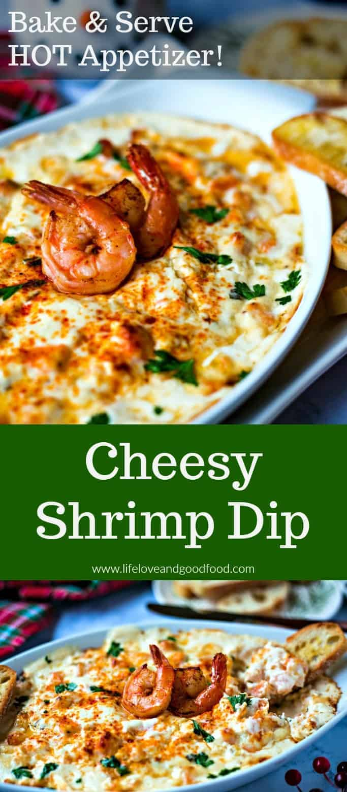 Cheesy Shrimp Dip — a deliciously creamy hot appetizer served with pita chips, assorted crackers, or even a sliced and toasted baguette. #hotappetizer #shrimpdip