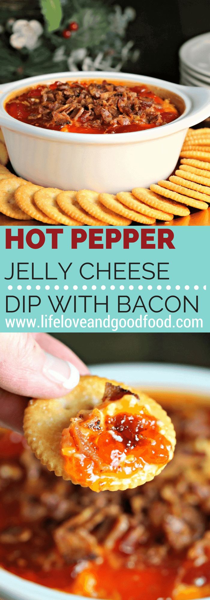 Sweet and salty with a little bit of heat, this Hot Pepper Jelly Cheese Dip with Bacon is irresistible at holiday parties. #hotappetizer #cheesedip