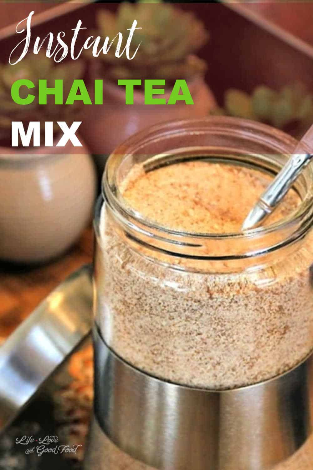 Enjoy a spicy mug of chai tea at home with this instant Chai Tea Mix recipe. Breathe in the soothing aromas of cinnamon, cloves, ginger, and cardamom with every sip! You'll want to make a double batch – chai tea mix makes great Easter or teacher gifts. #chaitea #instantdrink