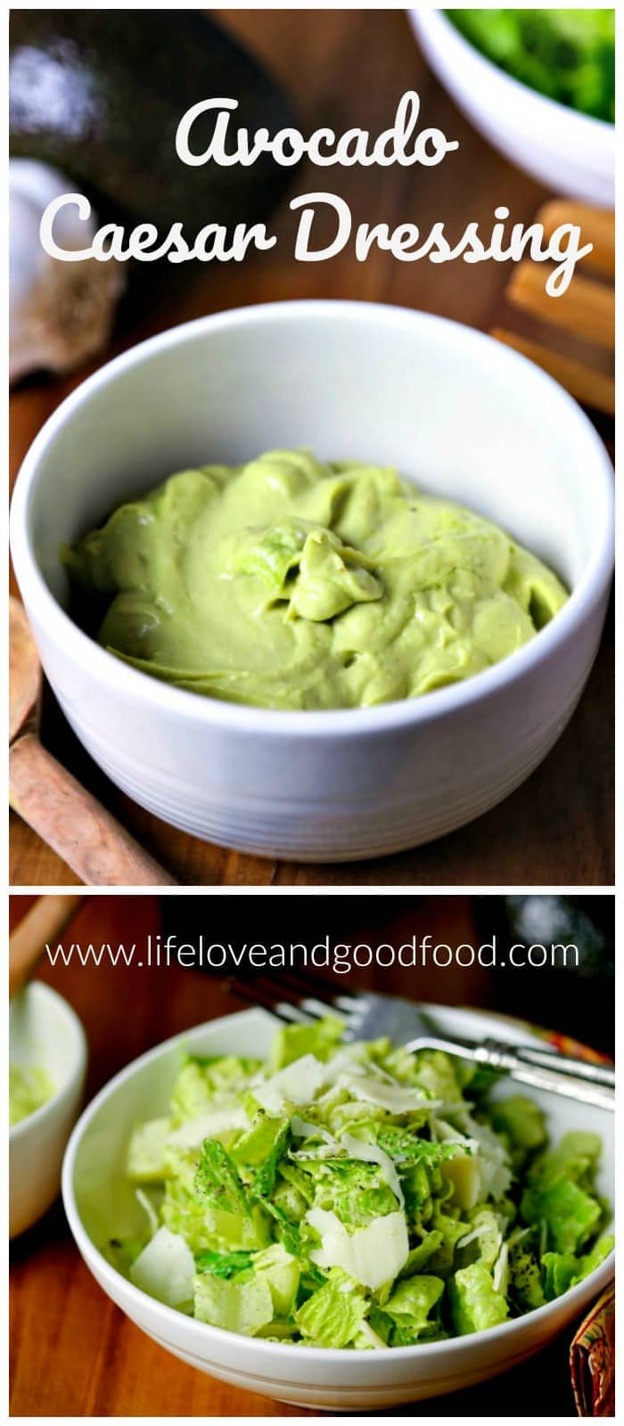 Substitute avocado for mayo in this creamy, delicious Avocado Caesar Dressing for half the fat of a regular Caesar dressing! #saladdressing #caesarsalad