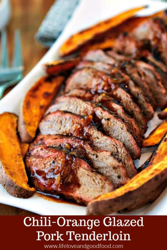 Easy preparation and simple ingredients combine to create a flavorful meal of Chili-Orange Glazed Pork Tenderloin with roasted sweet potato wedges. #grilling #porktenderloin #recipe #onthegrill #sweetpotatoes