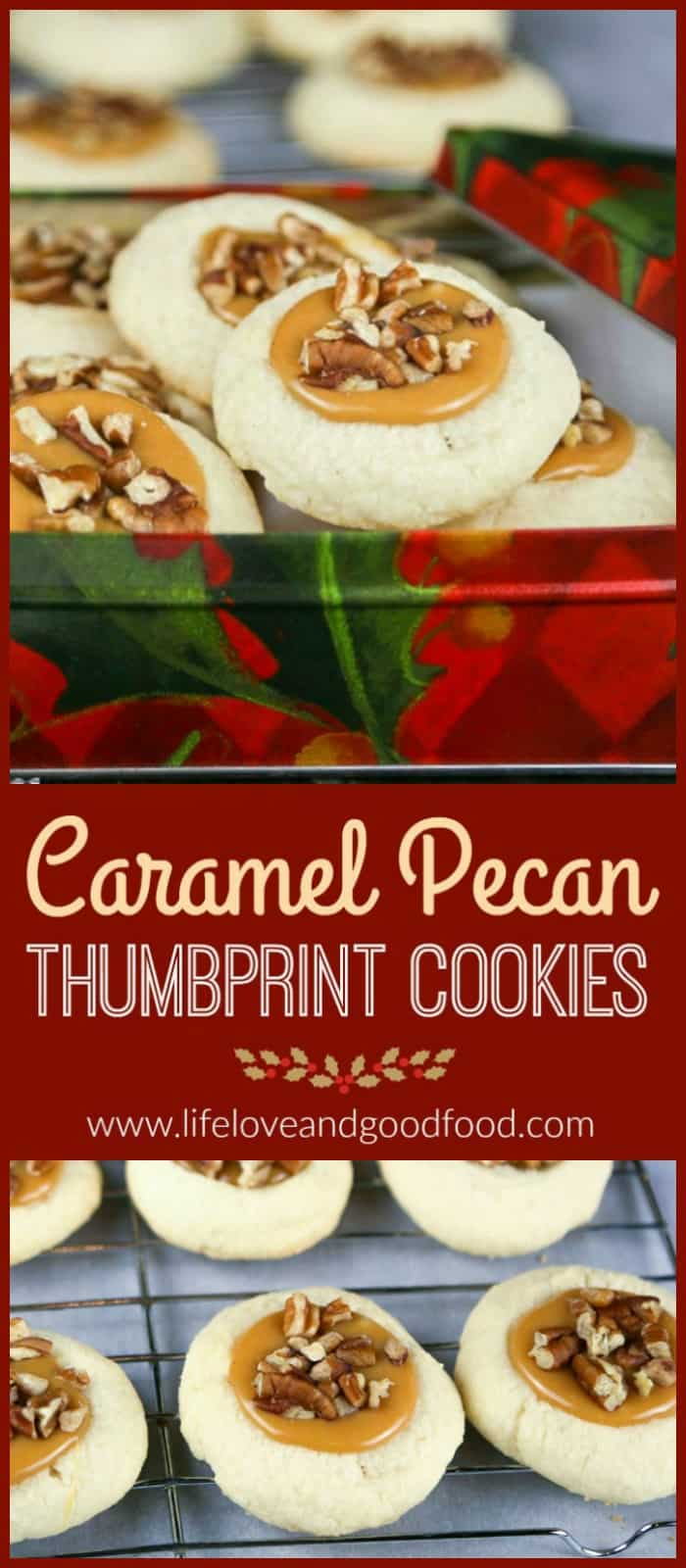 Celebrate the Sweetest Season with Caramel Pecan Thumbprint Cookies—buttery shortbread with creamy caramel centers topped with pecans.@cookies4kids #sweetestseasoncookies