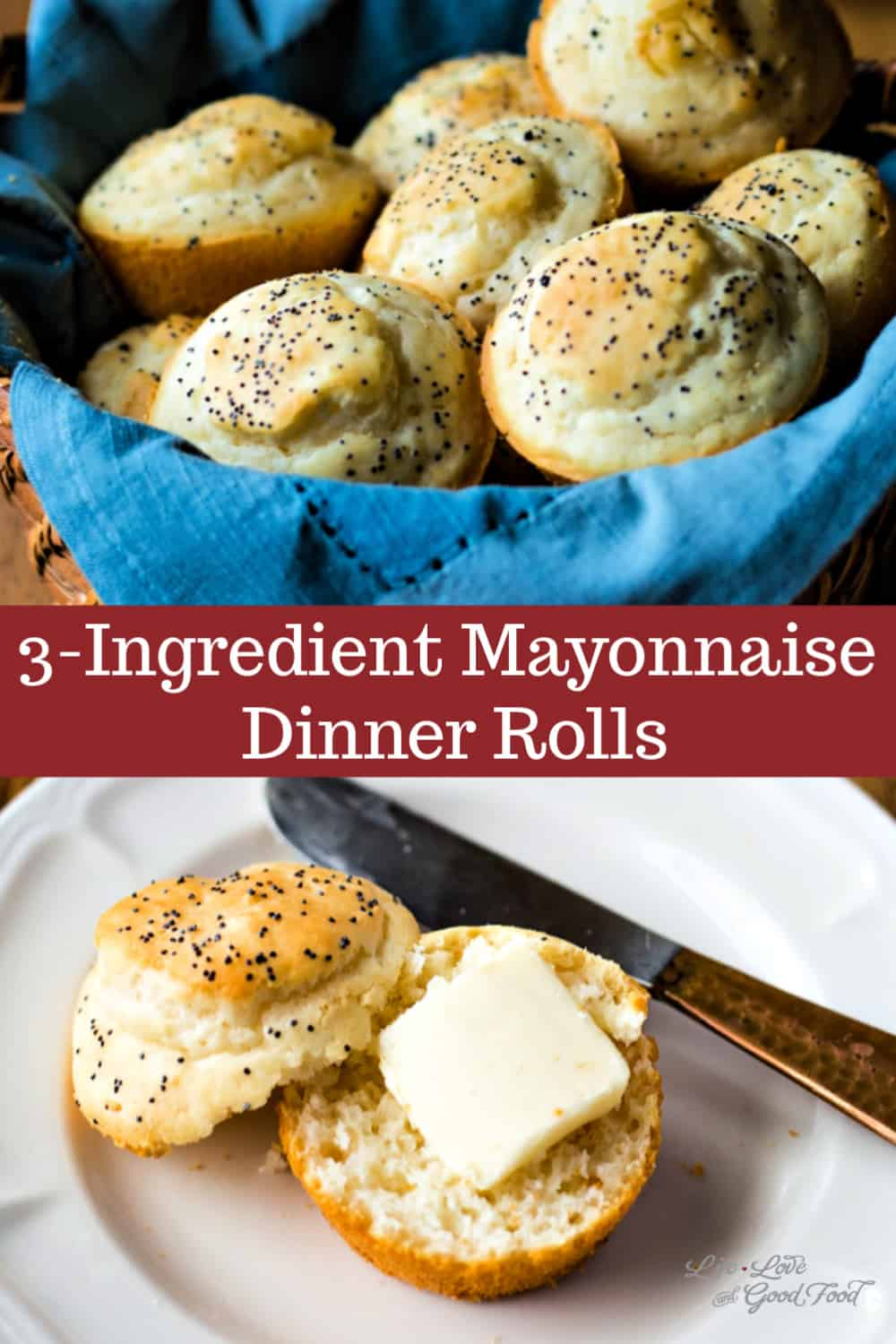 These Quick 3-Ingredient Dinner Rolls made with mayonnaise are so easy and delicious! Ready in about 20-minutes, these quick rolls bake up with a light and airy texture. #bread #quickbread #muffin