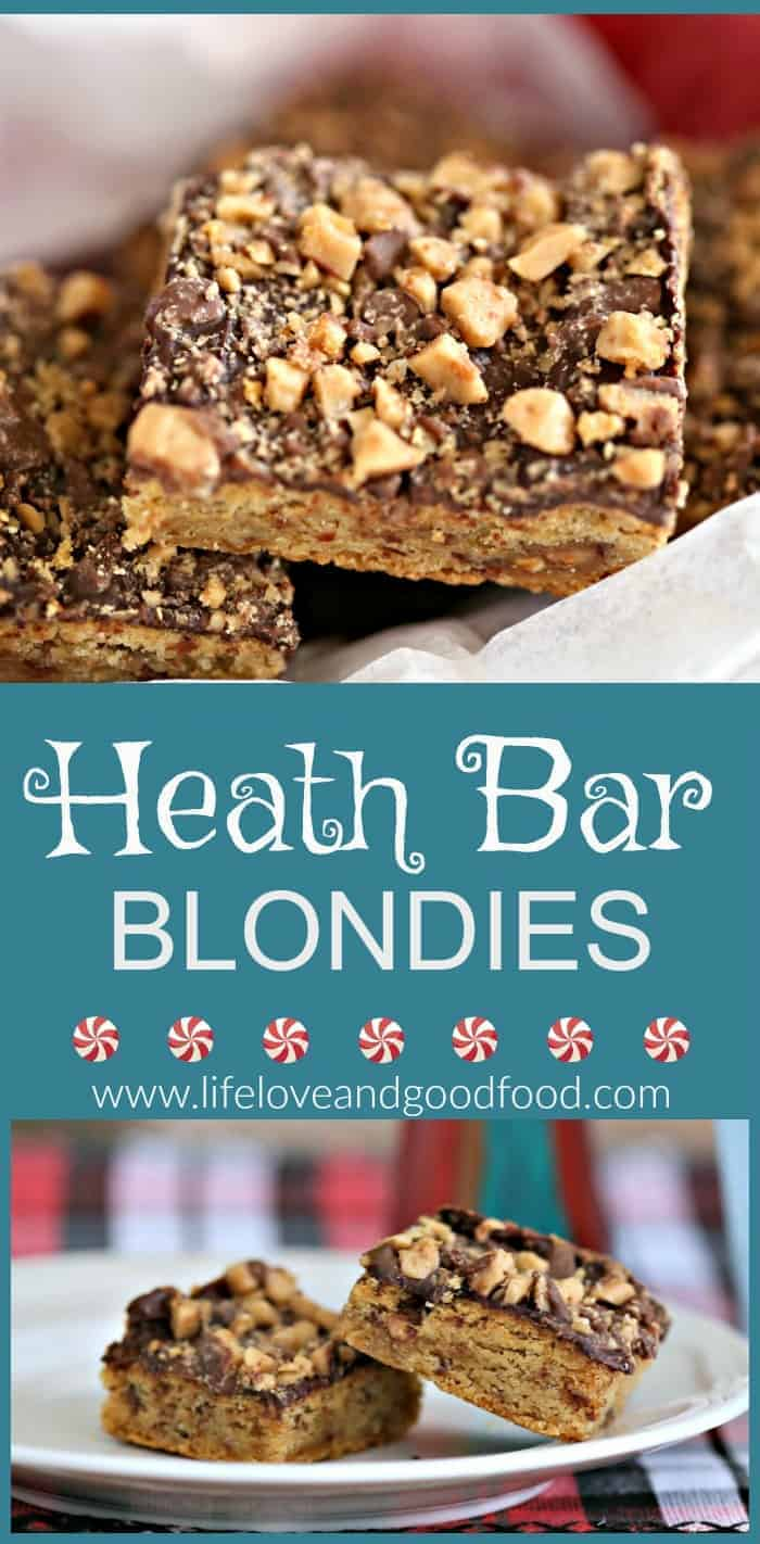 Heath Bar Blondies - Try this easy recipe for a chocolate-topped sweet dessert bar that's studded with Heath bar toffee bits inside and out! #cookies #barcookies #heathbar #blondies
