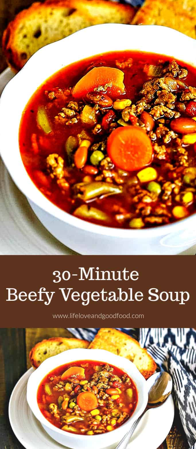 30-Minute Beefy Vegetable Soup—a soul-warming, short-cut soup bursting with flavor and ready to serve in just 30 minutes! #beefvegetablesoup #vegetablesoup #30minuterecipe