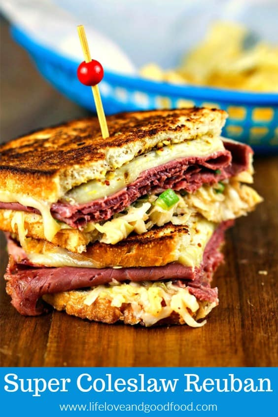 Super Coleslaw Reuben Sandwiches with melty Pepper Jack cheese and tangy coleslaw served hot off the griddle = a big win for this year's Super Bowl Party! #reuben #sandwich