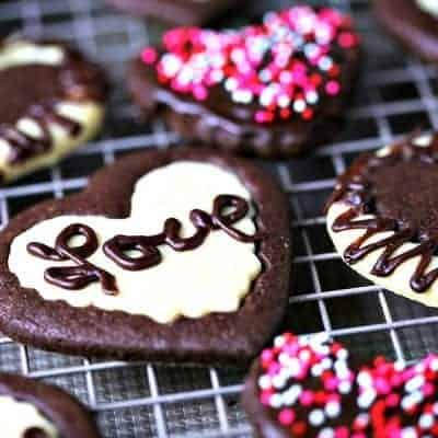 Chocolate and Vanilla Sweetheart Cookies