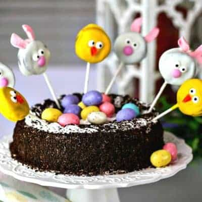 Oreo Ice Cream Cake with Easter Cookie Pops
