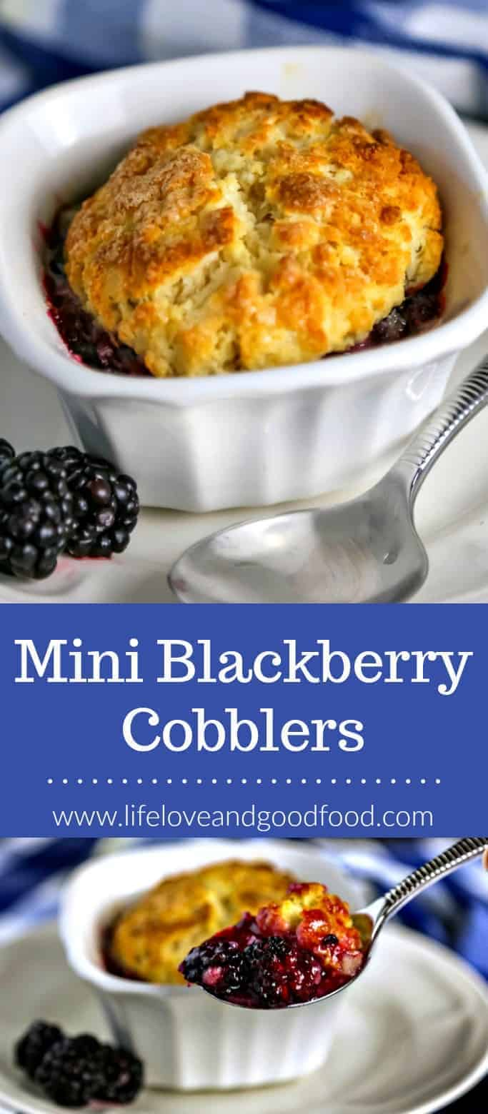 Mini Blackberry Cobblers with a buttery shortcake crust are baked in ramekins for perfectly-sized individual desserts. #blackberry #cobbler #pie #dessert #baking #summerdessert