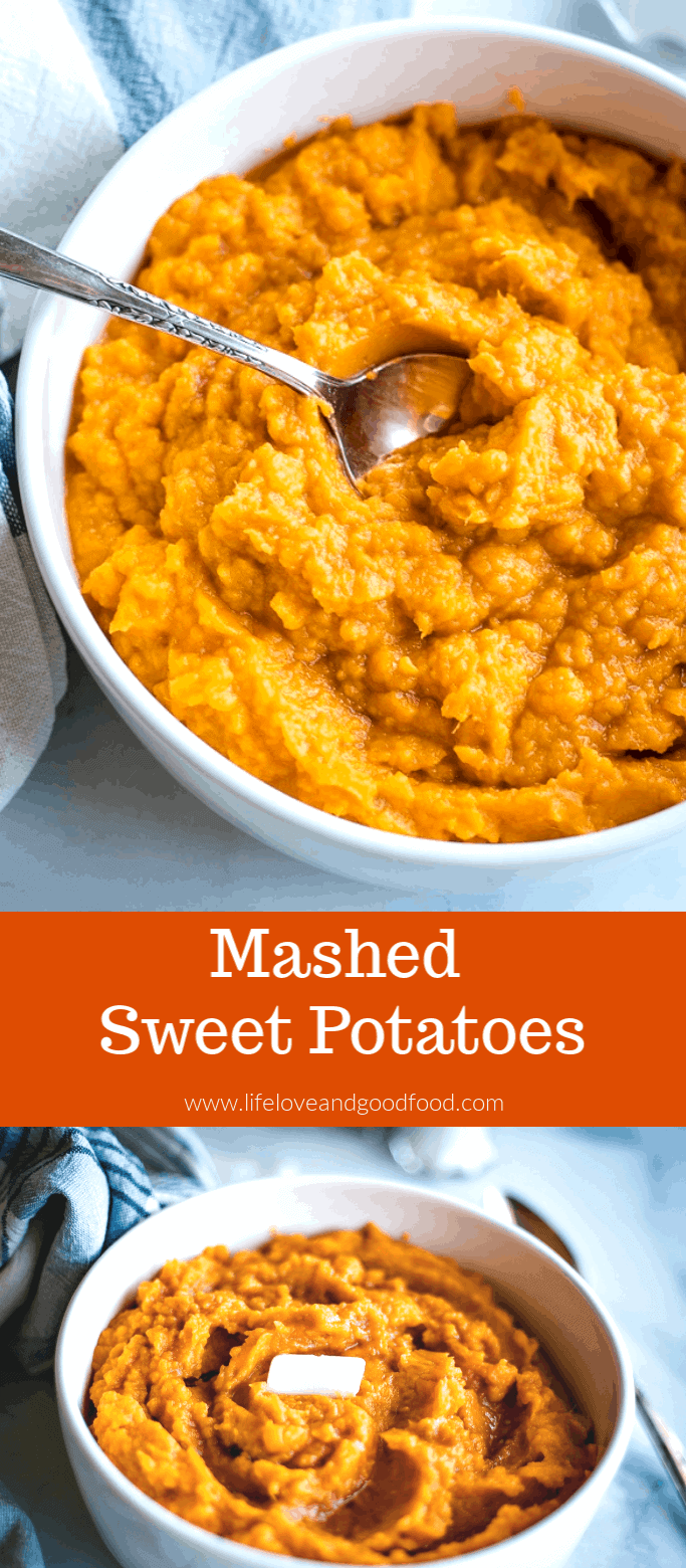 Mashed Sweet Potatoes sweetened with maple syrup make a tasty side dish for pork chops, chicken, or turkey meatloaf. Easy and simple recipe! #sweetpotatoes #mashedsweetpotatoes #vegetable #sidedish