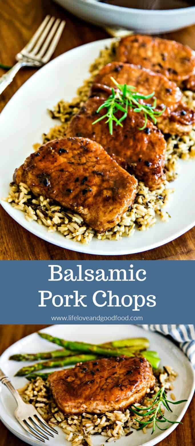Full of flavor and extremely tender, these Balsamic Pork Chops can be on your table in about 30 minutes! #porkchops #dinnertonight #easyrecipe
