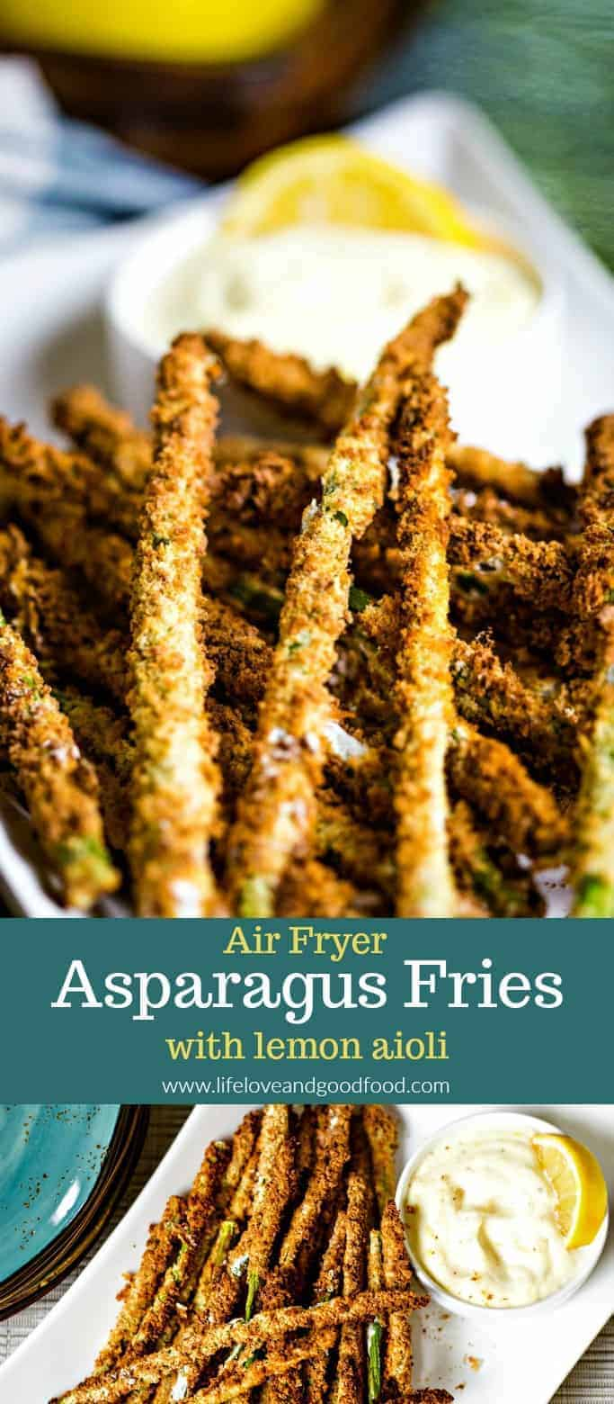 A homemade lemon and garlic aioli dipping sauce is the perfect accompaniment for this light appetizer of Air Fryer Asparagus Fries. #airfryerrecipes #healthyappetizer #lightappetizer #hotappetizer